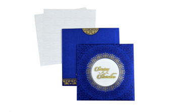 Padded Hindu Wedding Card LM 104 Blue