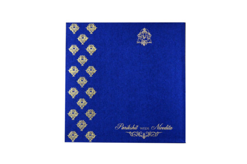 Designer Golden Print Wedding Card LM 111 Blue