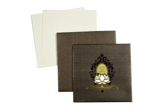 Laser Cut Lotus Theme Wedding Card LM 118 Brown