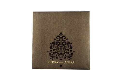 Laser Cut Lotus Theme Wedding Card LM 118 Brown