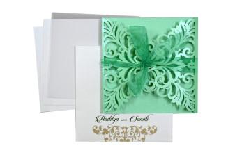 Designer Laser Cut Wedding Card LM 131 Green