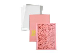 Designer Laser Cut Wedding Card LM 132 Pink