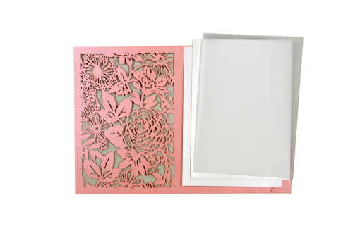 Designer Laser Cut Wedding Card LM 132 Pink