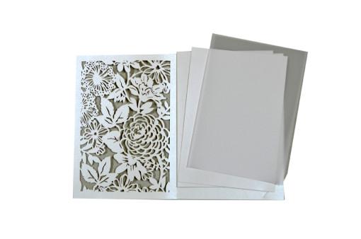 Designer Laser Cut Wedding Card LM 132 White