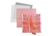 Couple Theme Laser Cut Wedding Card LM 133 Pink