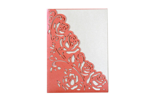 Designer Laser Cut Wedding Card LM 135 Pink