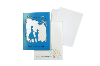 Couple Theme Laser Cut Wedding Card LM 136 Firozi