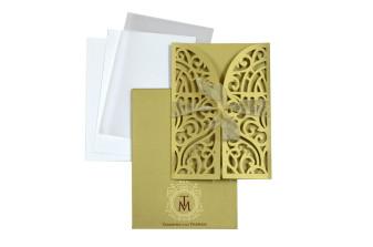 Door Style Laser Cut Wedding Card LM 139 Gold