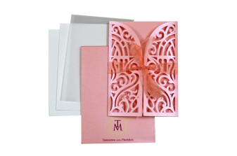 Door Style Laser Cut Wedding Card LM 139 Green