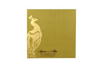 Peacock Theme Laser Cut Invitation LM 153 Gold