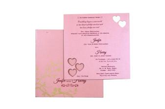 Heart Laser Cut Invitation LM 154 Pink