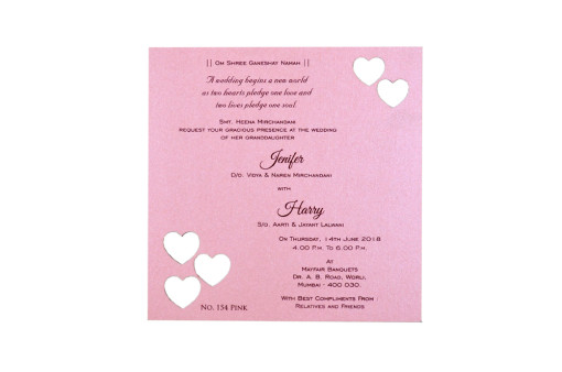 Heart Laser Cut Invitation LM 154 Pink