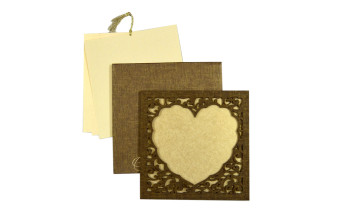 Photo Frame Style Reusable Satin Cloth Wedding Card LM 166 Heart