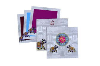 Elephant Theme Padded Wedding Card LM 183