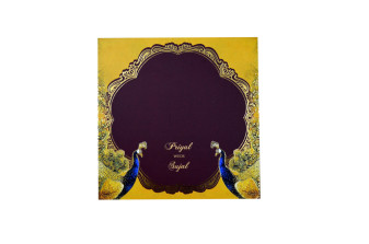 Peacock Theme Padded Wedding Card LM 187