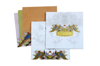 Peacock Theme Padded White Wedding Card LM 190