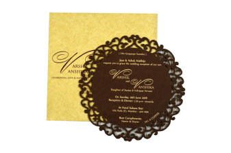 Circular Laser Cut Anniversary Invitation LM 4 Copper