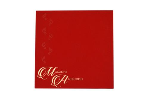 Velvet Touch Laser Cut Designer Wedding Card LM 43 Red