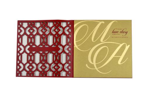 Velvet Touch Laser Cut Designer Wedding Card LM 45 Red