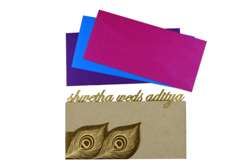 Peacock Feather Theme Laser Cut Wedding Card LM 6 Copper