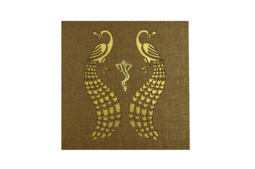 Peacock Theme Laser Cut Designer Wedding Card LM 65 Copper
