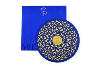 Circular Laser Cut Anniversary Invitation LM 67 Blue