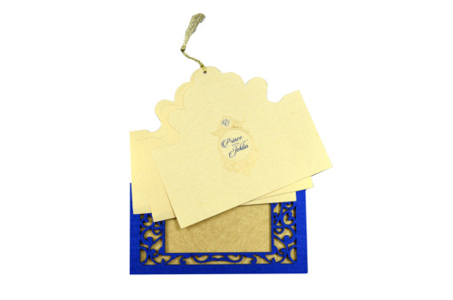 Photo Frame Style Reusable Wedding Card LM 75 Blue
