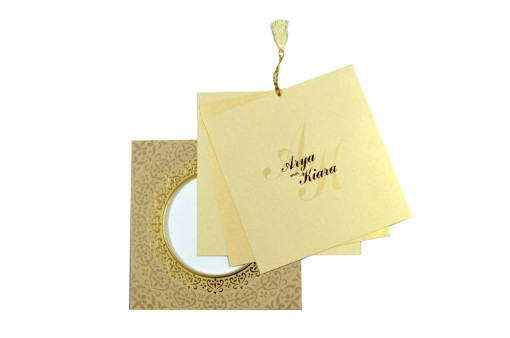 Circular Cut Budget Wedding Card LM 91 Biscuit
