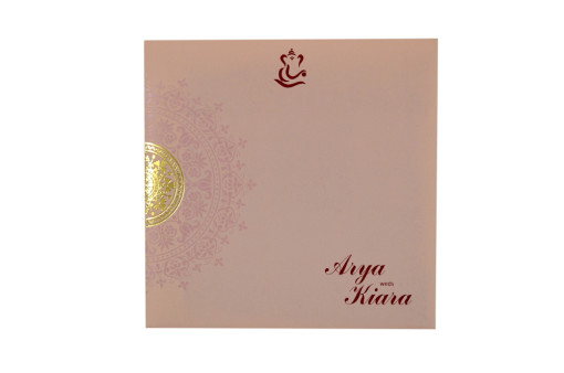 Circular Cut Budget Wedding Card LM 92 Pink