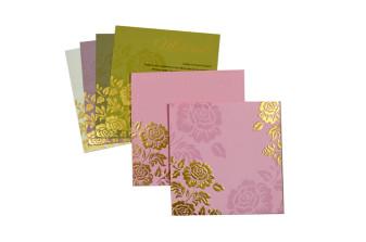 Baby Pink Floral Wedding Card PR 441