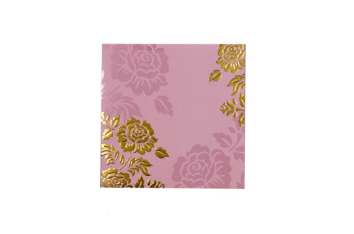 Baby Pink Floral Wedding Card PR 441
