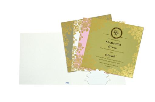Ivory Floral Wedding Card PR 445