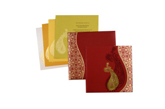 Paisley Red Wedding Card PR 477