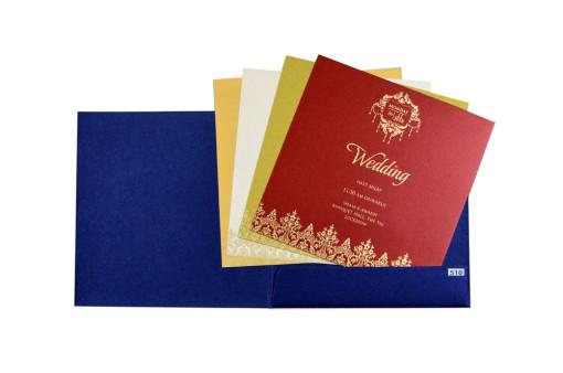 Royal Blue Budget Wedding Card PR 510