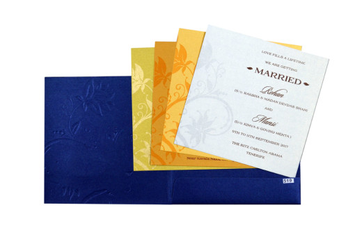 Royal Blue Budget Wedding Card PR 519