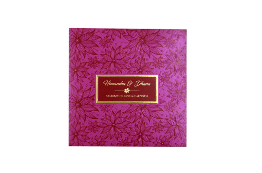 Dark Pink Floral Theme Wedding Card Design PR 542