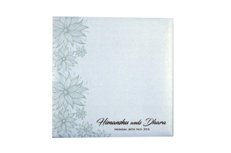 Light Blue Floral Theme Wedding Card Design PR 543