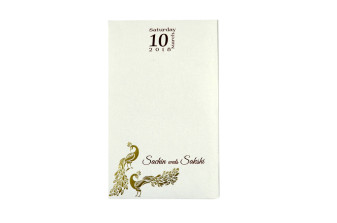 White Peacock Theme Wedding Card PR 545