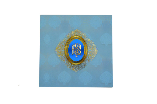 Exclusive Velvet Touch Paper Light Blue Wedding Card PR 930