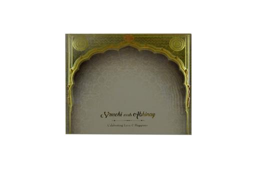 Exclusive Velvet Touch Paper Cream Wedding Card PR 931