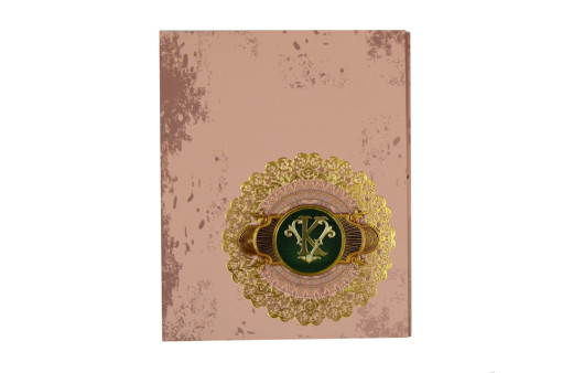 Exclusive Velvet Touch Paper Peach Wedding Card PR 932