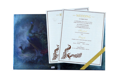 Shiny Exclusive Peacock Theme Wedding Card PR 934
