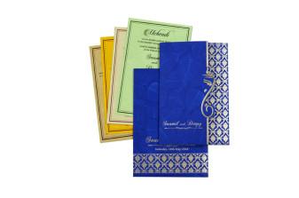 Blue Budget Hindu Wedding Card RB 1422 BLUE