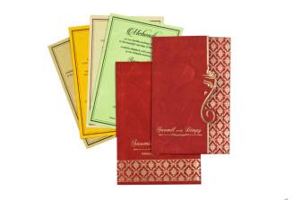 Red Budget Hindu Wedding Card RB 1422 RED