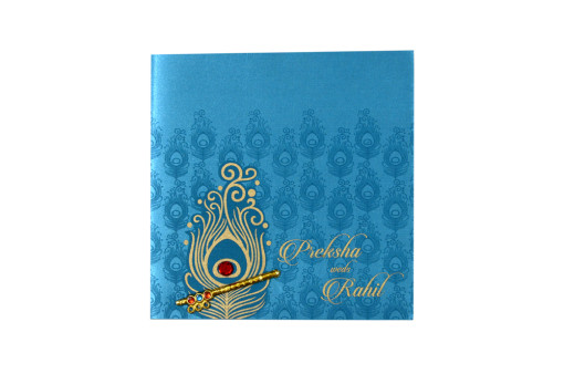 Satin Cloth Peacock Feather Wedding Card RB 1430 FIROZI