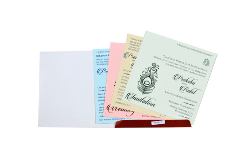 Satin Cloth Peacock Feather Wedding Card RB 1430 RED