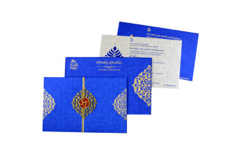 Centre Fold Padded Wedding Card RB 1442 BLUE