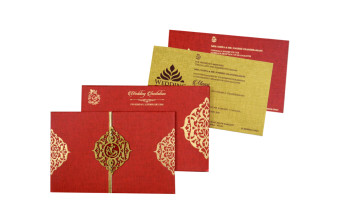 Centre Fold Padded Wedding Card RB 1442 RED