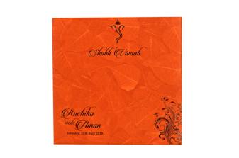 Padded Hindu Wedding Card RB 1443 ORANGE