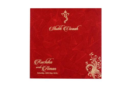 Padded Hindu Wedding Card RB 1443 RED
